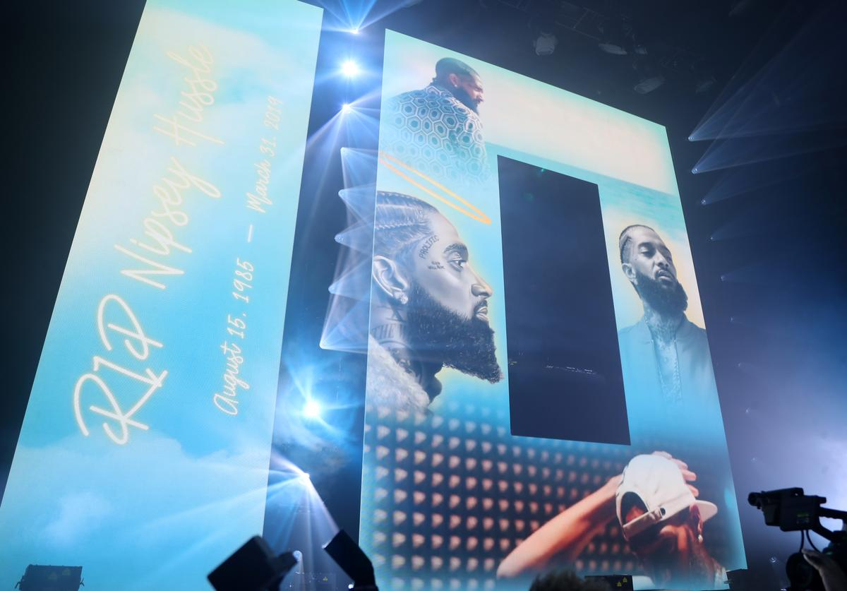 Nipsey Hussle tribute during SUMMERSFEST 2019 at The Novo by Microsoft on August 12, 2019 in Los Angeles, California