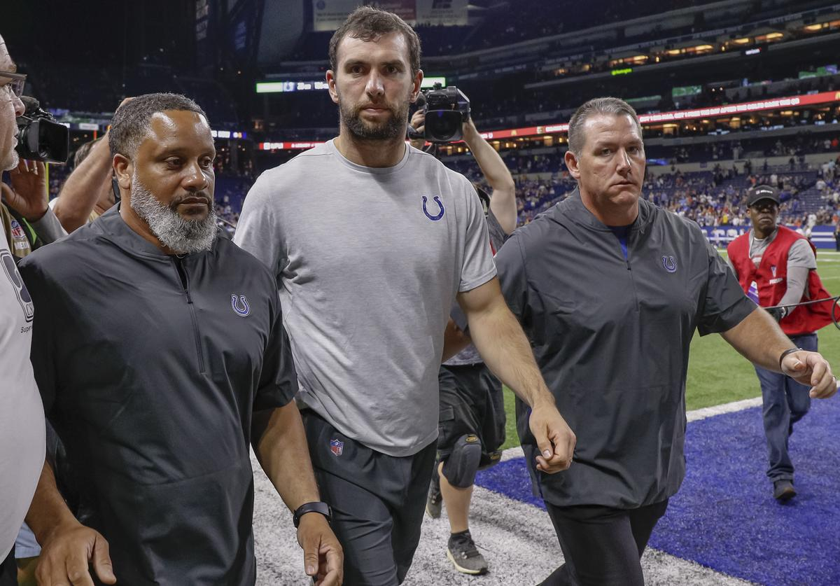 Andre Luck leaves the field.