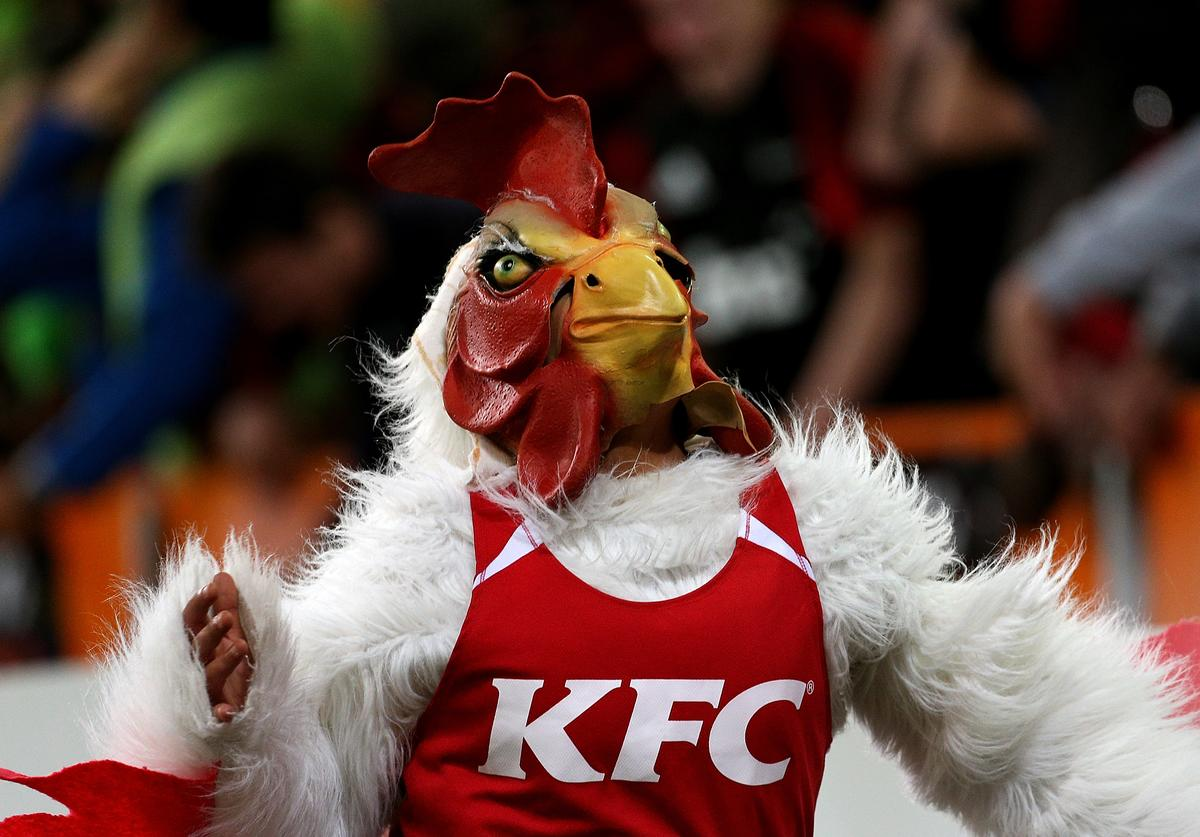 KFC mascot reacts during the round five Super Rugby match between the Highlanders and the Crusaders at Forsyth Barr Stadium on March 17, 2018 in Dunedin, New Zealand.