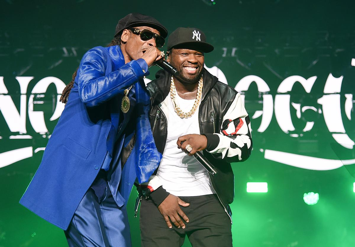 "Snoop Dogg (L) and Curtis ""50 Cent"" Jackson perform onstage at STARZ Madison Square Garden ""Power"" Season 6 Red Carpet Premiere, Concert, and Party on August 20, 2019 in New York City"