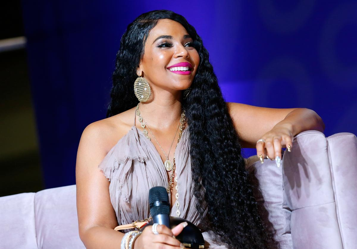Ashanti reacts during SiriusXM's Radio Andy Channel Broadcast from Essence Festival at Ernest N. Morial Convention Center on July 05, 2019 in New Orleans, Louisiana
