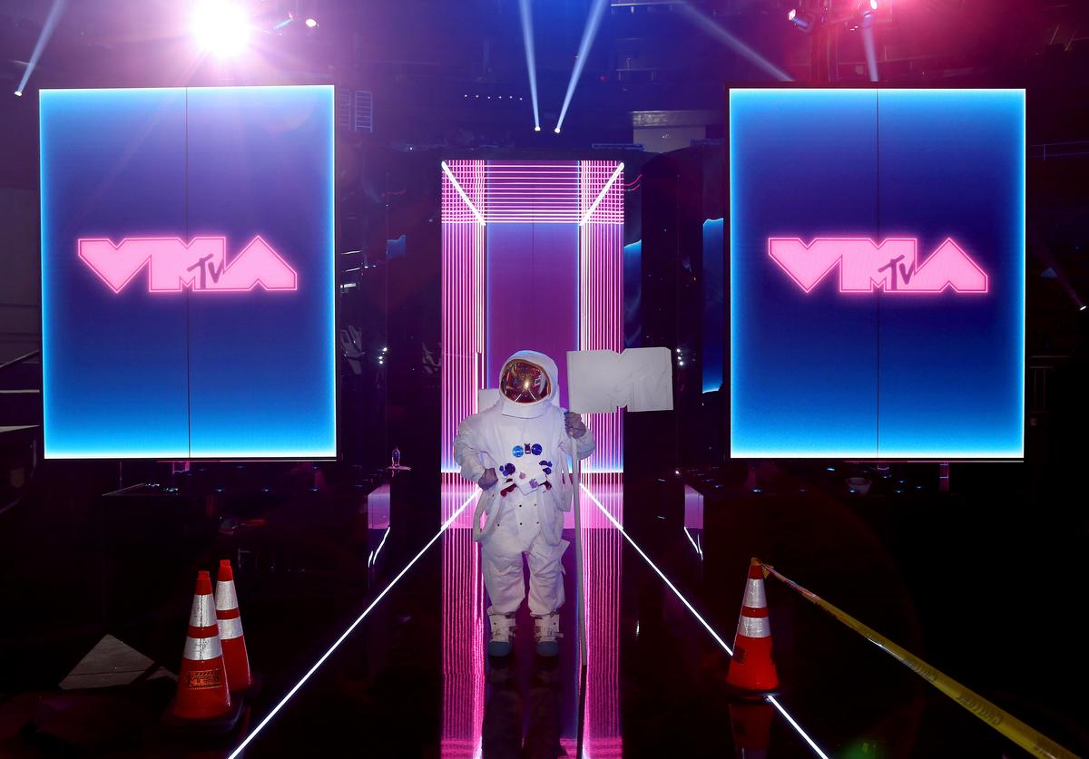 MTV Moon Man poses on stage during the 2019 MTV Video Music Awards Press Junket at Prudential Center on August 22, 2019 in Newark, New Jersey.