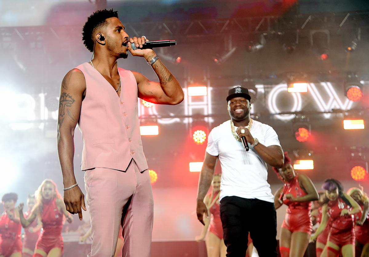 """Trey Songz (L) and Curtis """"50 Cent"""" Jackson perform onstage at STARZ Madison Square Garden """"Power"""" Season 6 Red Carpet Premiere, Concert, and Party on August 20, 2019 in New York City"""