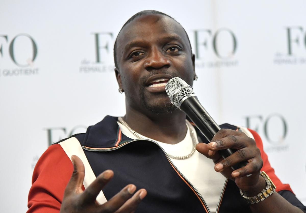 Akon speaks on stage at the 3rd Annual Global Goals World Cup at the SAP Leonardo Centre on September 25, 2018 in New York City