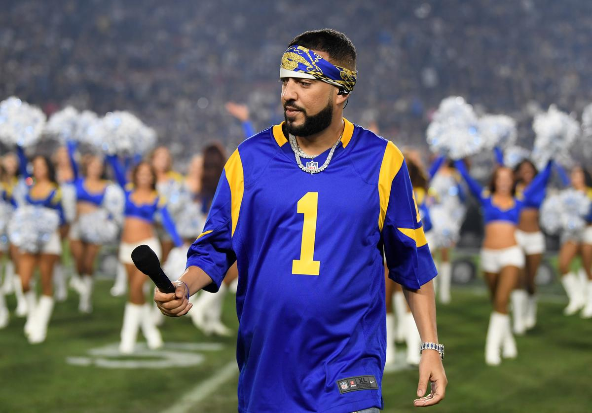 Rapper French Montana performs during halftime in the NFC Divisional Playoff game between the Los Angeles Rams and the Dallas Cowboys at Los Angeles Memorial Coliseum on January 12, 2019 in Los Angeles, California.