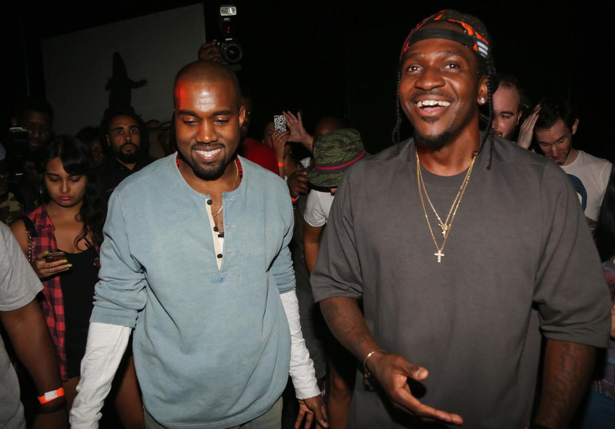 "Kanye West and Pusha T attend the ""MNIMN"" listening event at Industria Superstudio on September 11, 2013 in New York City."