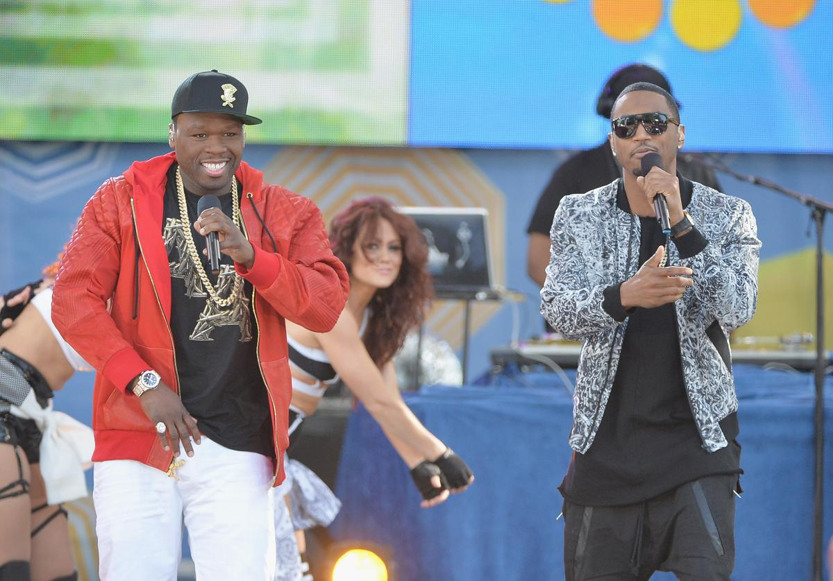 "Trey Songz (L) ad Curtis ""50 Cent"" Jackson perform at Rumsey Playfield on May 30, 2014 in New York City"