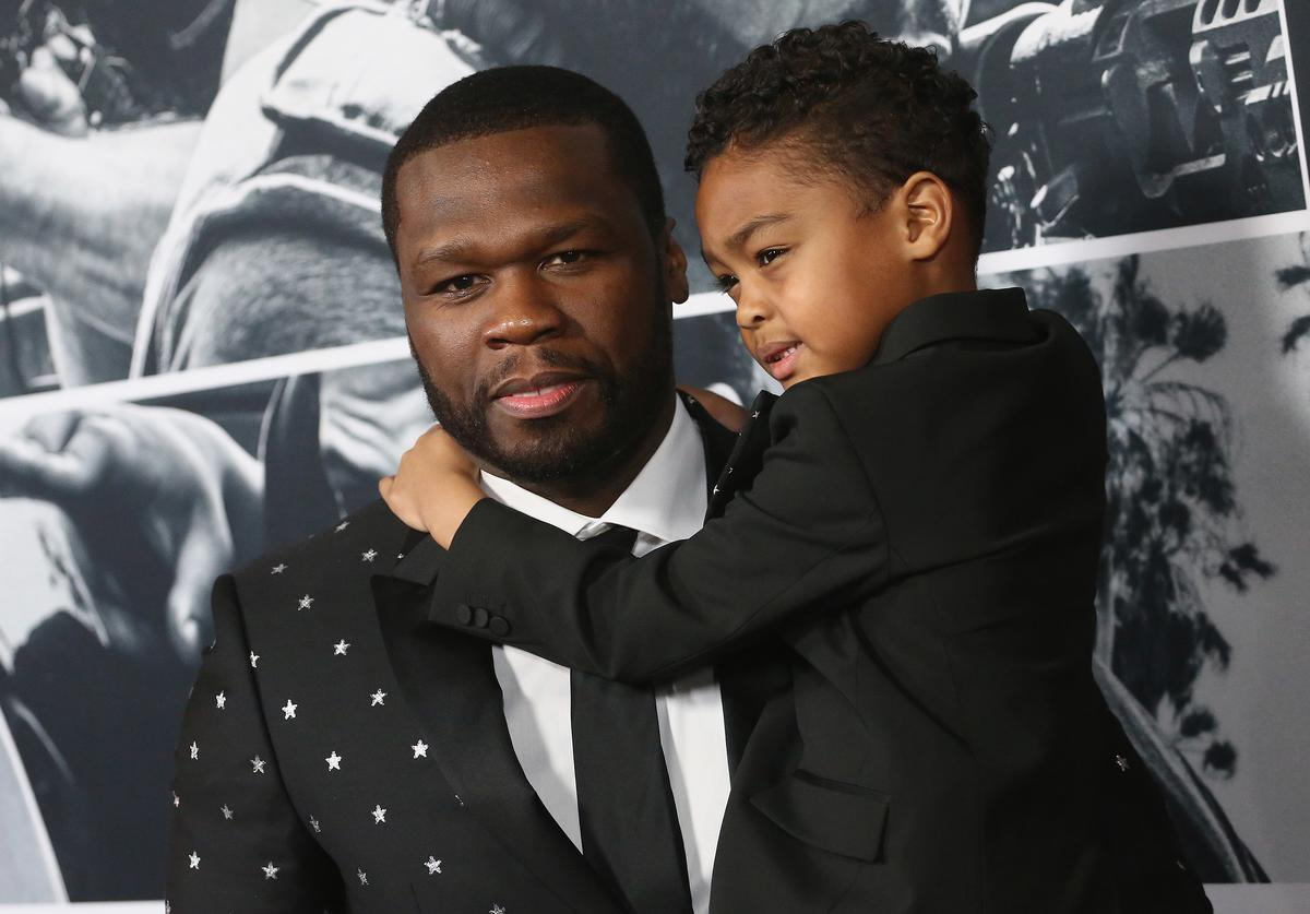 "Curtis 50 CENT Jackson and Sire Jackson attend the Premiere Of STX Films' ""Den Of Thieves"" at Regal LA Live Stadium 14 on January 17, 2018 in Los Angeles, California"