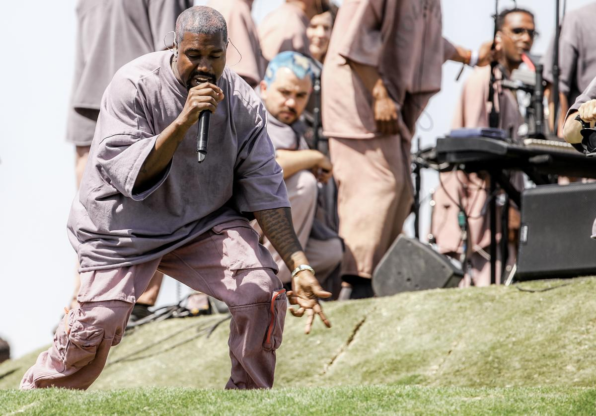 Kanye West performs Sunday Service during the 2019 Coachella Valley Music And Arts Festival on April 21, 2019 in Indio,