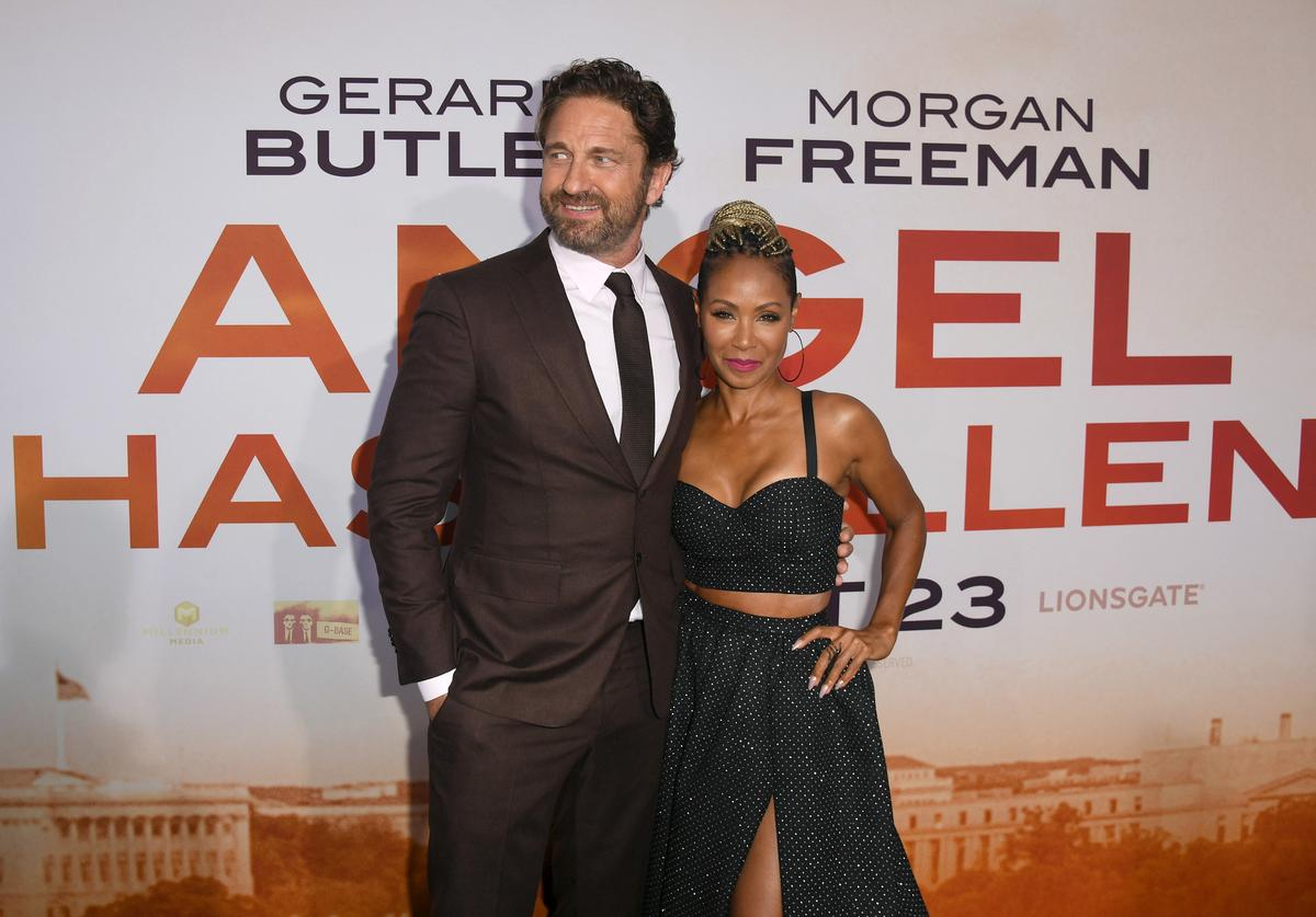 """Gerard Butler and Jada Pinkett Smith attend the LA Premiere of Lionsgate's """"Angel Has Fallen"""" at Regency Village Theatre on August 20, 2019 in Westwood, California."""