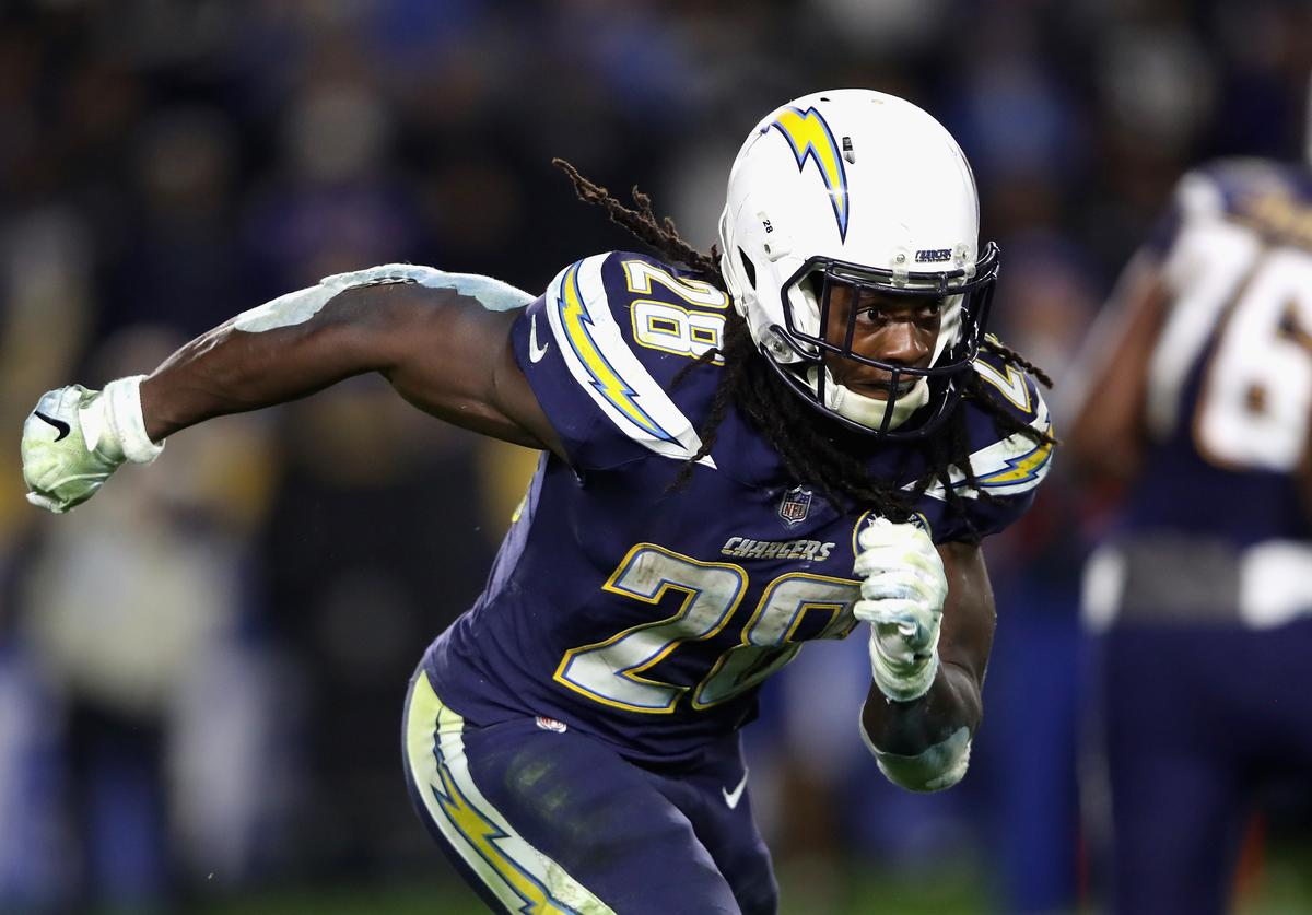 Melvin Gordon #28 of the Los Angeles Chargers runs on a pass play during the second half of a game against the Baltimore Ravens at StubHub Center on December 22, 2018 in Carson, California.