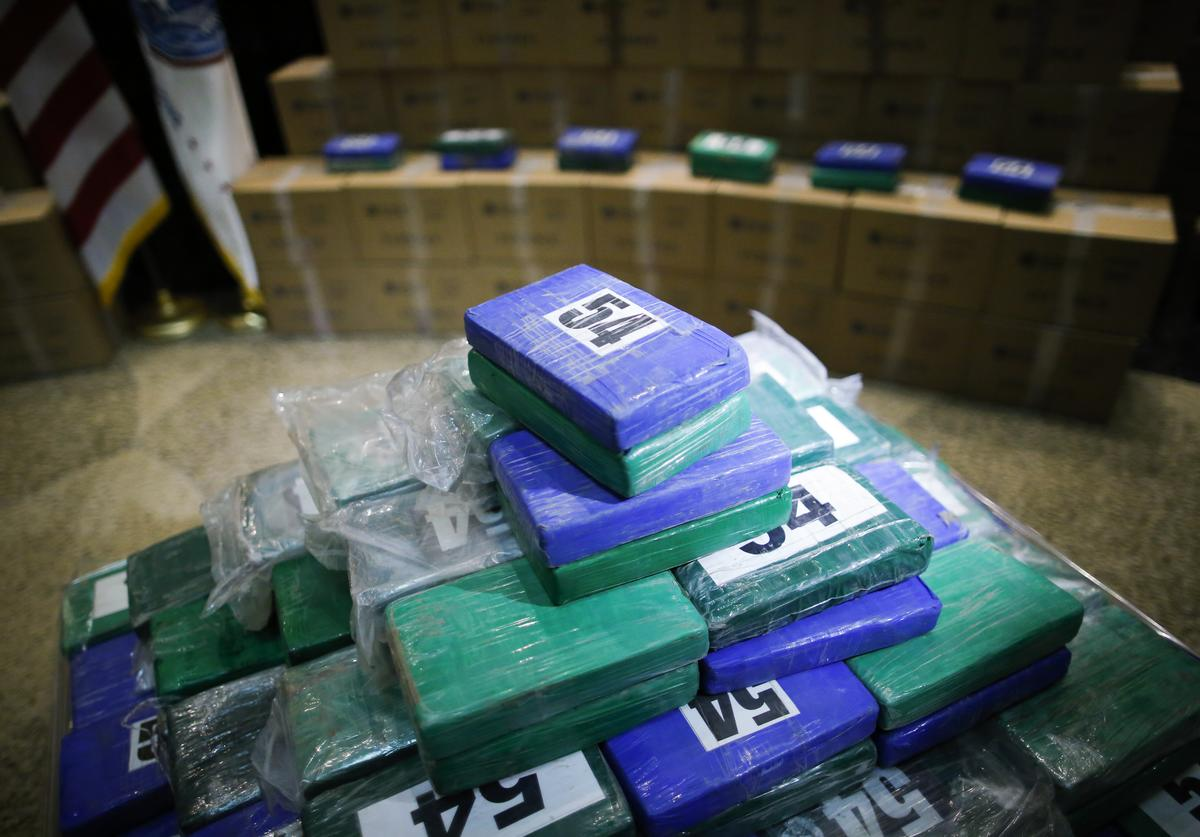 ome of the cocaine seized from a cargo ship at a Philadelphia port is displayed during a news conference at the U.S. Custom House on June 21, 2019 in Philadelphia, Pennsylvania. At least 17.5 tons of cocaine with more than $1 billion in street value was seized at the Philadelphia seaport, being the largest cocaine seizure in the 230-year history of U.S Customs and Border protection.