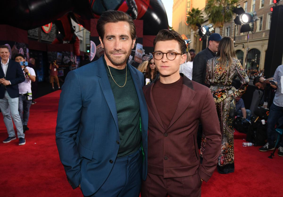 """Jake Gyllenhaal (L) and Tom Holland attend the premiere of Sony Pictures' """"Spider-Man Far From Home"""" at TCL Chinese Theatre on June 26, 2019 in Hollywood, California"""