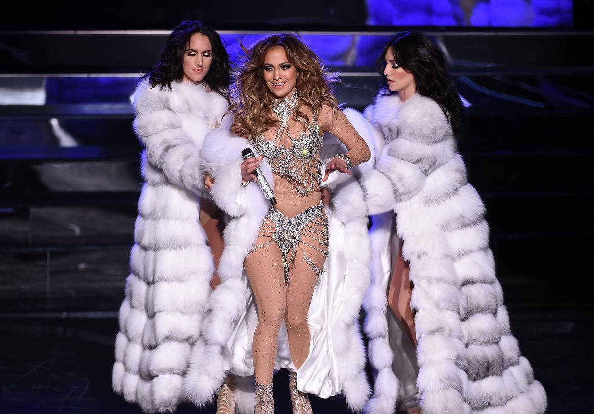 "Singer/actress Jennifer Lopez (C) performs with dancers during the launch of her residency ""JENNIFER LOPEZ: ALL I HAVE"" at The Axis at Planet Hollywood Resort & Casino on January 20, 2016 in Las Vegas, Nevada."