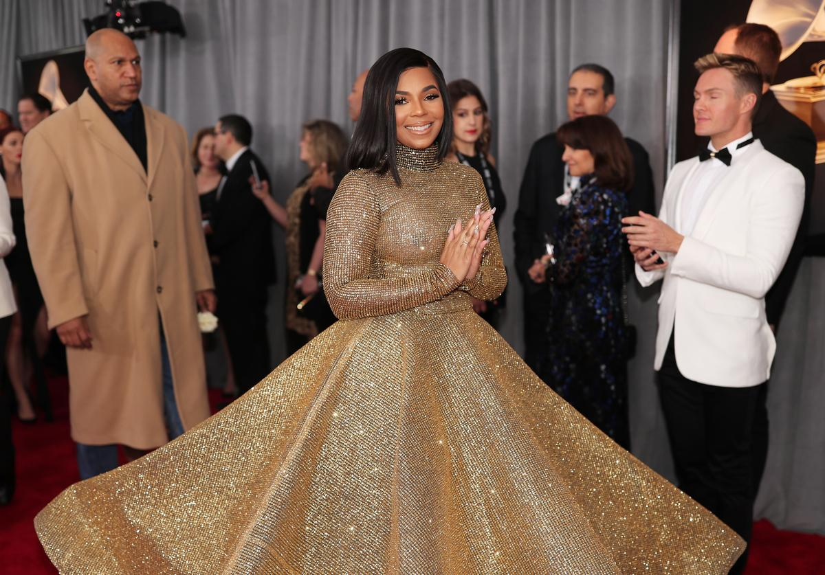 Ashanti attends the 60th Annual GRAMMY Awards at Madison Square Garden on January 28, 2018 in New York City