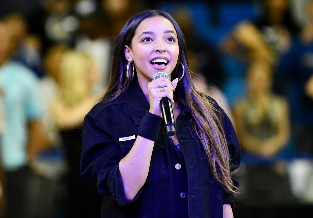 Tinashe sings the national anthem prior to the Monster Energy $50K Charity Challenge Celebrity Basketball Game at UCLA's Pauley Pavilion on July 08, 2019 in Westwood, California