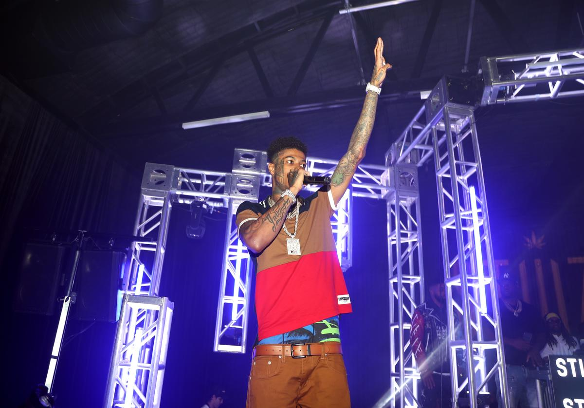 Blueface performs onstage during the Stiiizy Retail launch event In Los Angeles at Hubble Studio on August 24, 2019 in Los Angeles, California