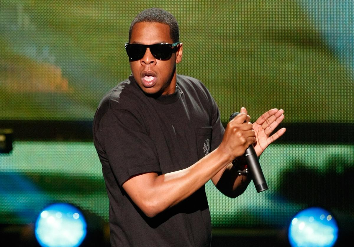 """Rapper Jay-Z performs at The Pearl concert theater at the Palms Casino Resort July 3, 2009 in Las Vegas, Nevada. Jay-Z is expected to release the album, """"Blueprint 3"""" this September."""