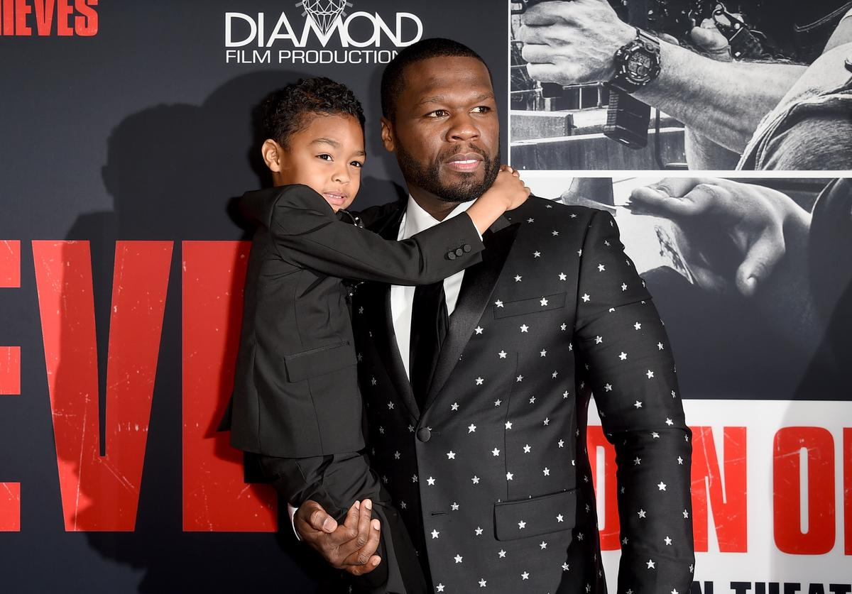 "50 Cent (R) and Sire Jackson attend the premiere of STX Films' ""Den of Thieves"" at Regal LA Live Stadium 14 on January 17, 2018 in Los Angeles, California"