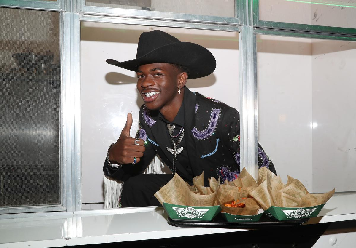 Lil Nas X teams up with Wingstop at the Old Town Road premiere party on May 17, 2019 in West Hollywood, California