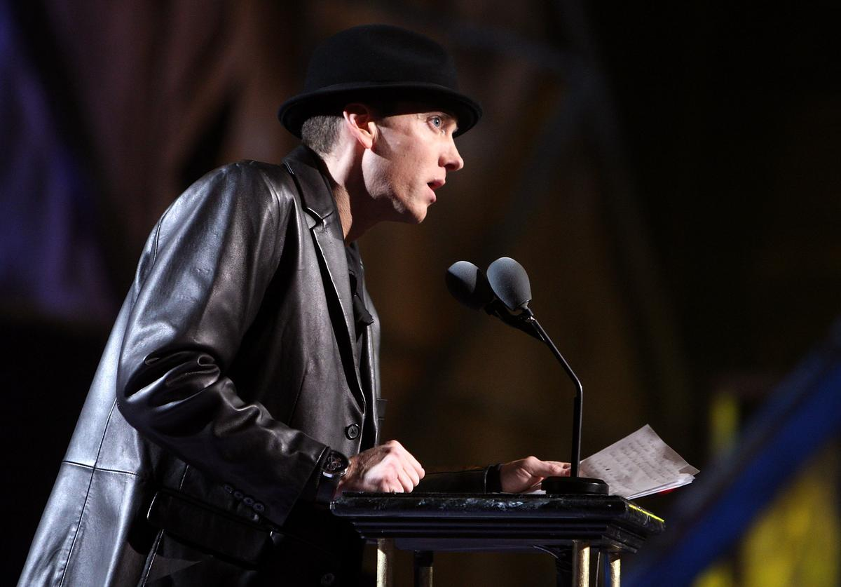 Eminem speaks onstage during the 24th Annual Rock and Roll Hall of Fame Induction Ceremony at Public Hall on April 4, 2009 in Cleveland, Ohio.