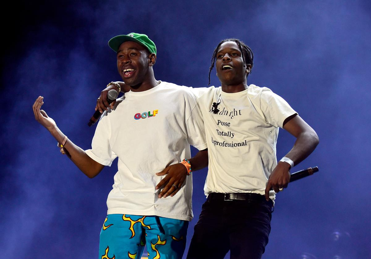 Recording artists Tyler, The Creator (L) and ASAP Rocky perform onstage during day 1 of the 2016 Coachella Valley Music & Arts Festival Weekend 2 at the Empire Polo Club on April 22, 2016 in Indio, California. (