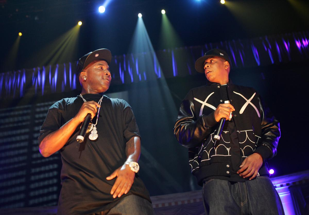 """Rappers Young Jeezy and Jay Z performs onstage during Power 105.1's """"Powerhouse 2005: Operation Takeover"""" at the Continental Airlines Arena on October 27, 2005 in East Rutherford, New Jersey."""