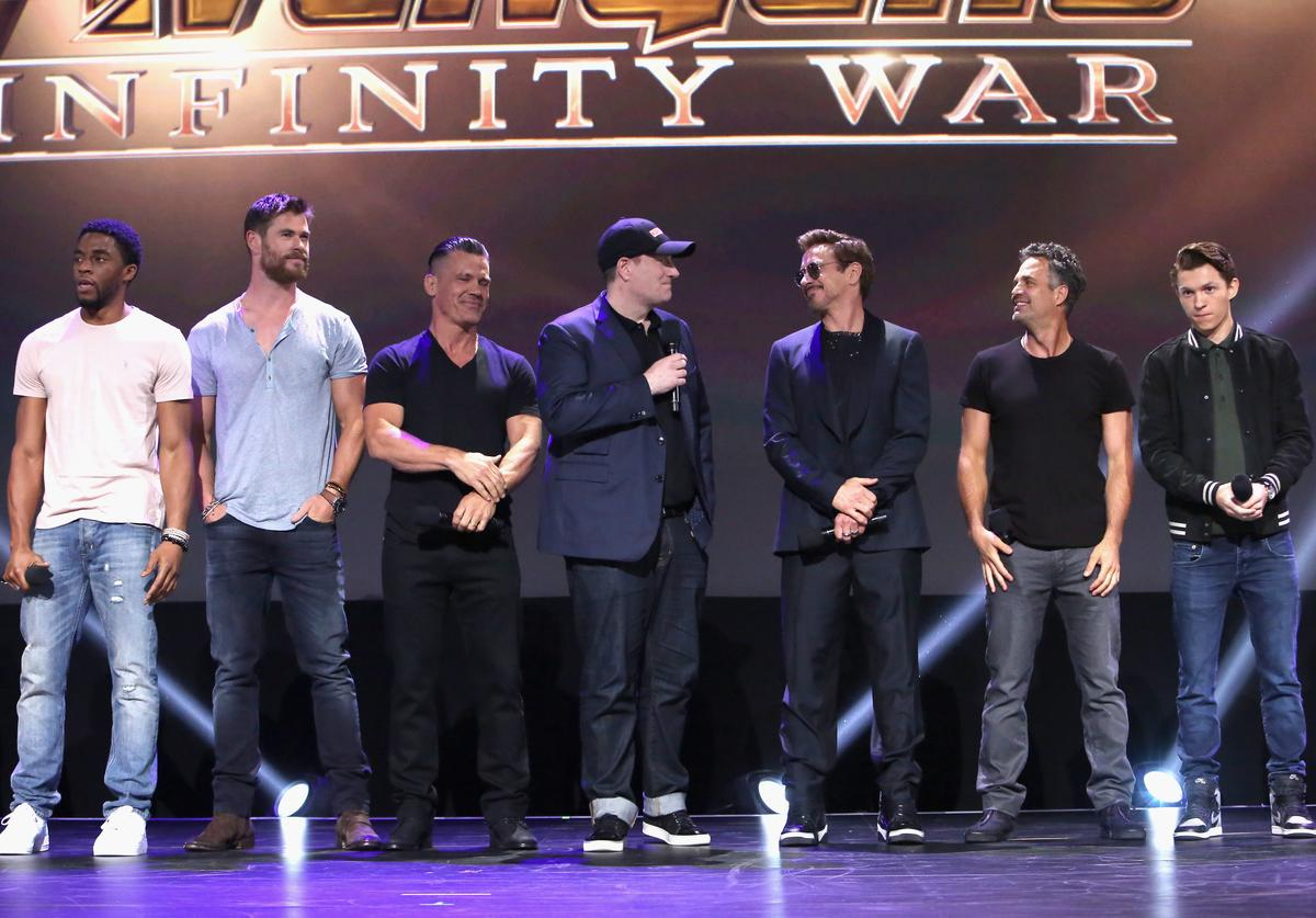 Actors Chadwick Boseman, Chris Hemsworth, and Josh Brolin, producer Kevin Feige, and actors Robert Downey Jr., Mark Ruffalo and Tom Holland of AVENGERS: INFINITY WAR took part today in the Walt Disney Studios live action presentation at Disney's D23 EXPO 2017 in Anaheim, Calif. AVENGERS: INFINITY WAR will be released in U.S. theaters on May 4, 2018.