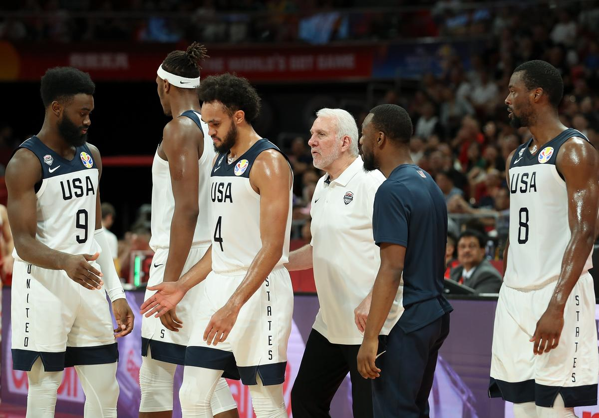 Head Coach Gregg Popovich of USA reacts during the games 7-8 of 2019 FIBA World Cup match between USA and Poland at Beijing Wukesong Sport Arena on September 14, 2019 in Beijing, China.