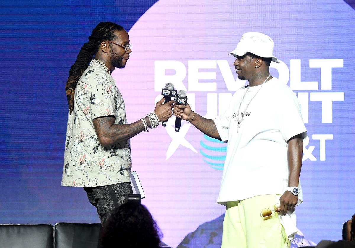 "2 Chainz and Sean ""Diddy"" Combs speaks onstage during day 2 of REVOLT Summit x AT&T Summit on September 13, 2019 in Atlanta, Georgia."