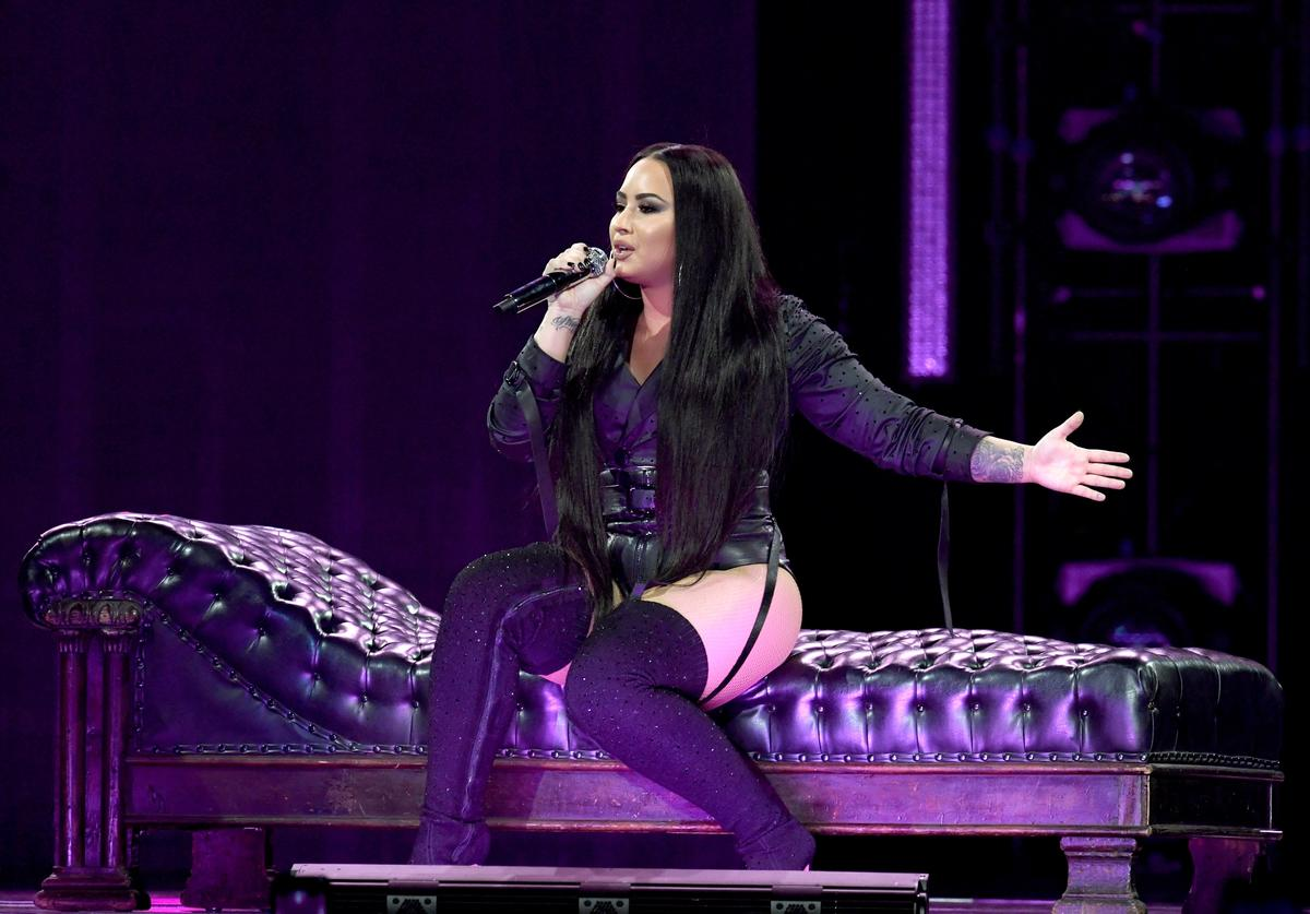 Demi Lovato performing.