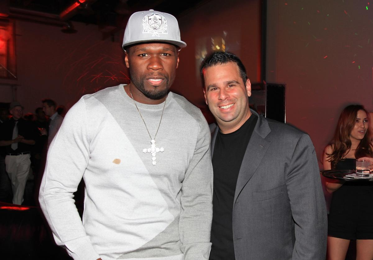 Curtis '50 Cent' Jackson and producer Randall Emmett attend the Cheetah Vision, Hannibal Pictures & Emmett/Furla Films AFM party at Pier59 Studios West on November 5, 2010 in Santa Monica, California