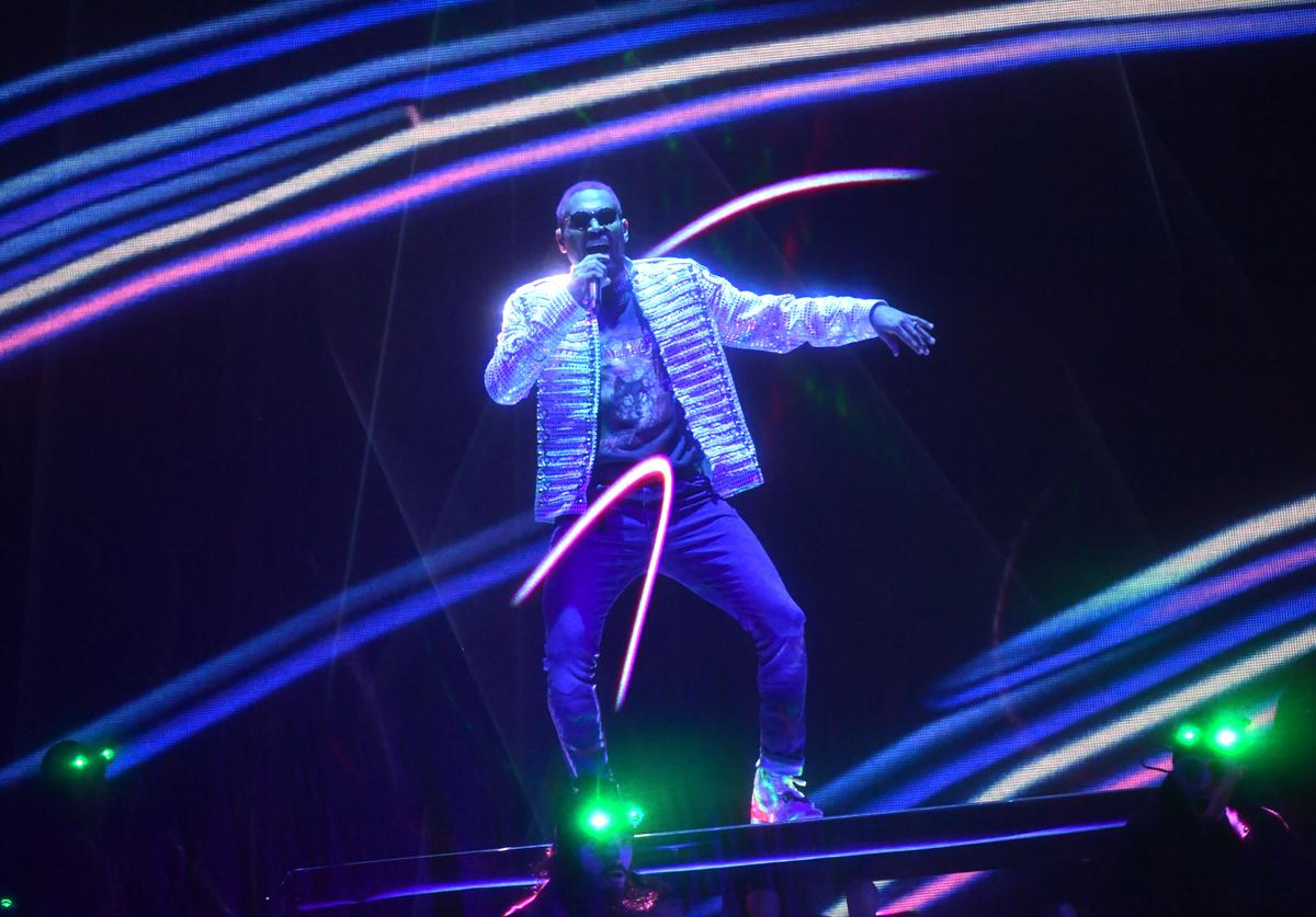 Chris Brown performing.