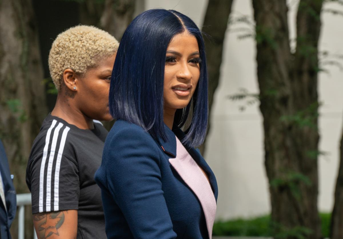 Cardi B departs from court after being arraigned on misdemeanor assault charges at the Queens Criminal Court on June 25, 2019 in New York City.