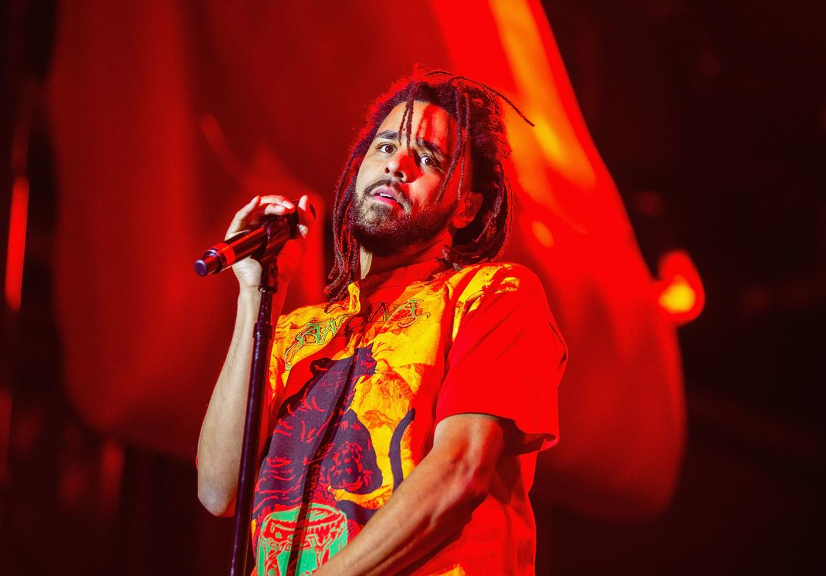 J. Cole performs at Bumbershoot at Seattle Center on September 1, 2018 in Seattle, Washington.