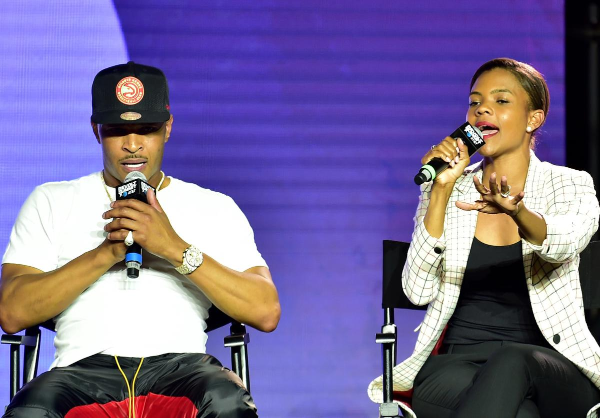 T.I. and Candace Owens speak onstage during day 3 of REVOLT Summit x AT&T Summit on September 14, 2019 in Atlanta, Georgia.