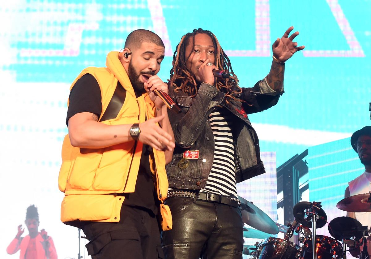 Drake (L) and Future perform on the Coachella Stage during day 2 of the Coachella Valley Music And Arts Festival (Weekend 1) at the Empire Polo Club on April 15, 2017 in Indio, California