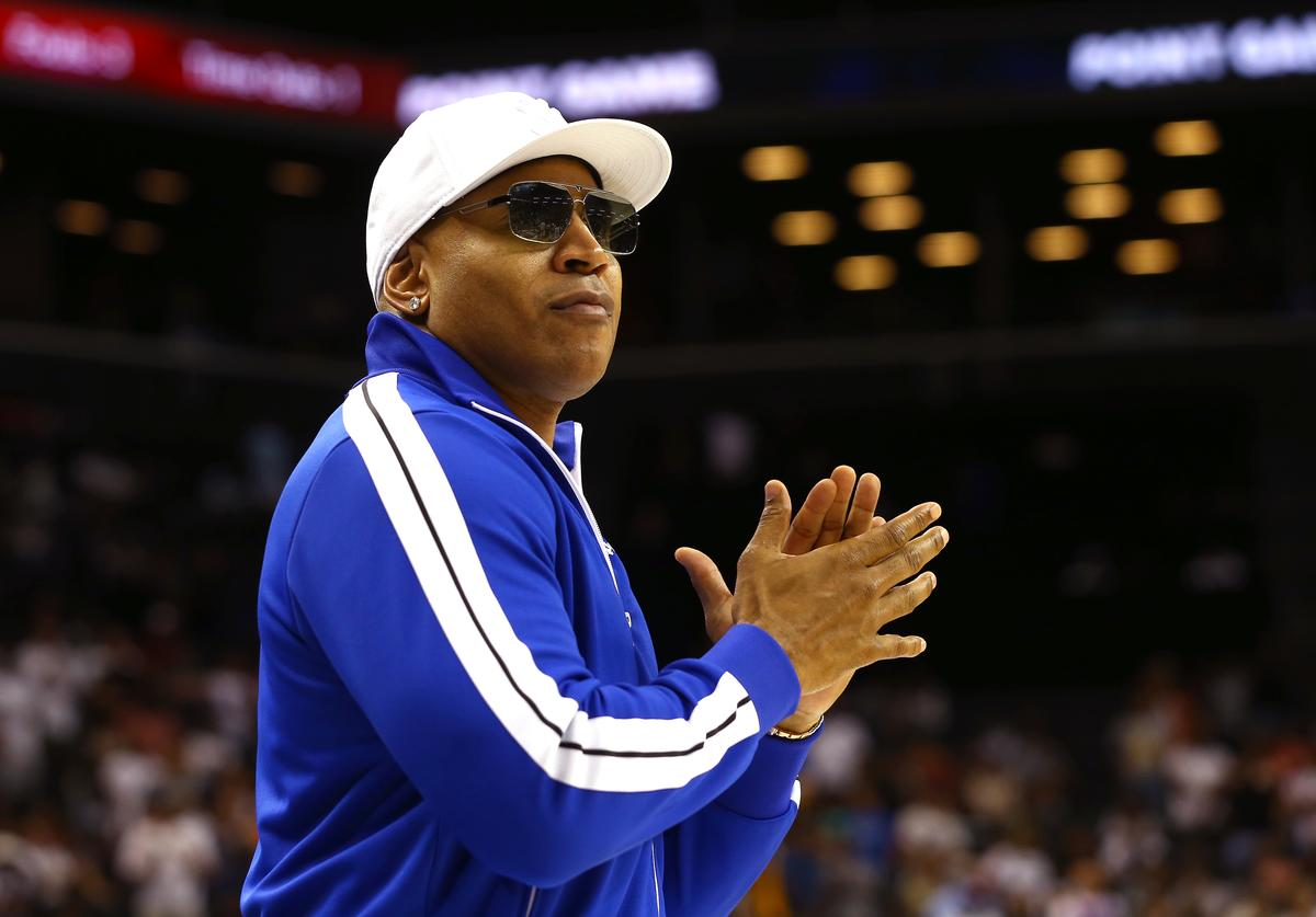 : LL Cool J looks on during week four of the BIG3 three-on-three basketball league at Barclays Center on July 14, 2019 in the Brooklyn borough of New York City.