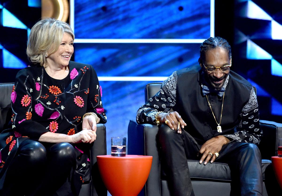 Martha Stewart (L) and rapper Snoop Dogg onstage at The Comedy Central Roast of Justin Bieber at Sony Pictures Studios on March 14, 2015 in Los Angeles, California