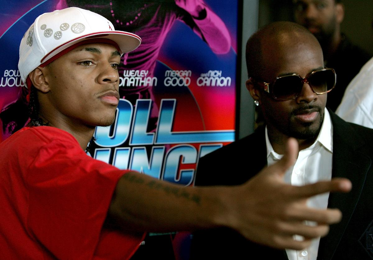 """Bow Wow and producer Jermaine Dupri arrive to the premiere of Fox Searchlight's film """"Roll Bounce"""" at The Bridge at Howard Hughes Center September 20, 2005 in Los Angeles, California"""