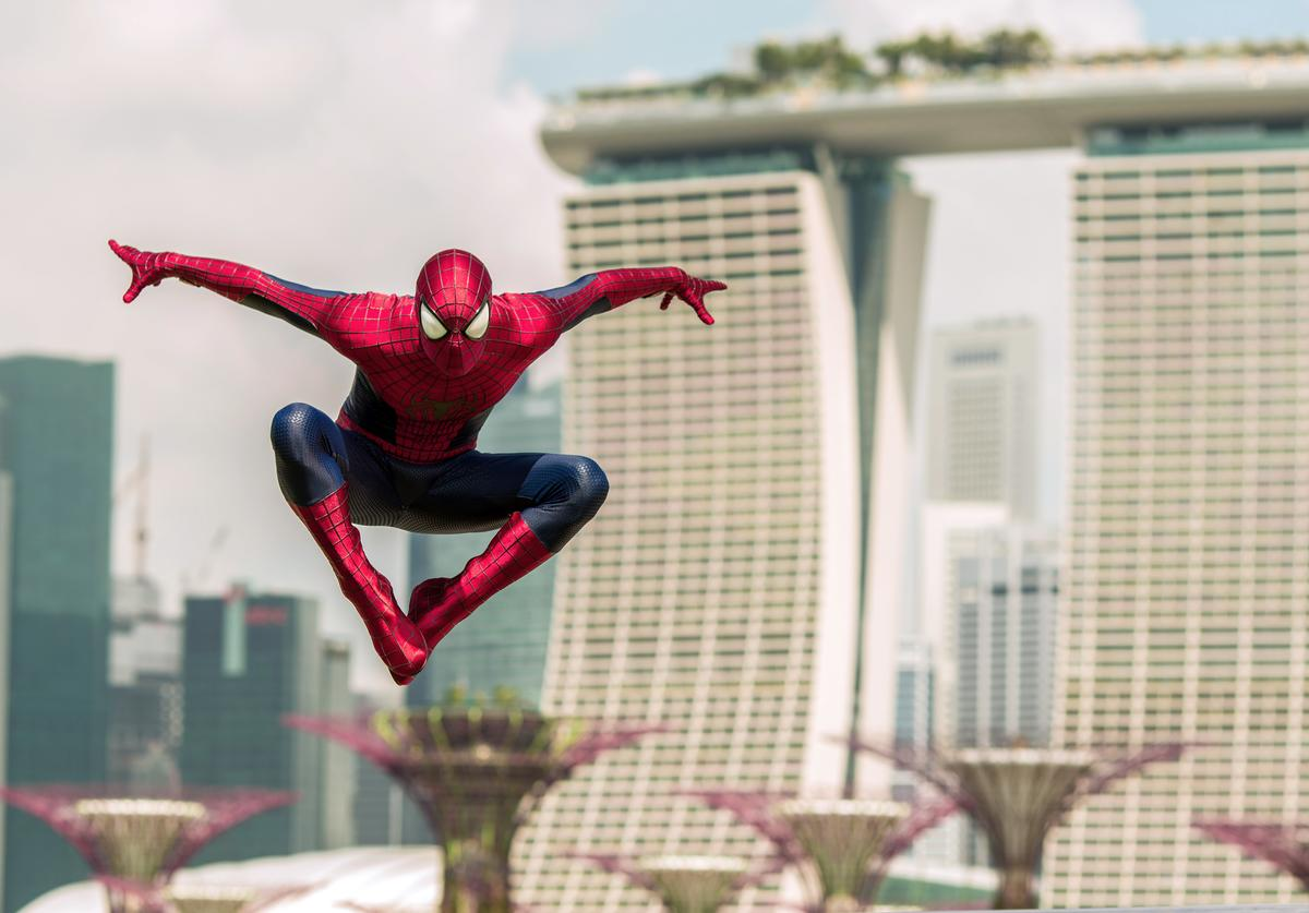 "This image has been retouched.) (EXCLUSIVE COVERAGE) Spider-Man explores Singapore during his time in town for ""The Amazing Spider-Man 2"" on March 27, 2014 in Singapore."