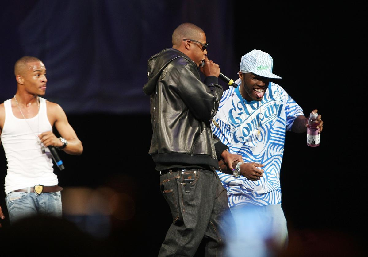T.I., Jay Z, and 50 Cent perform onstage during Screamfest '07 at Madison Square Garden on August 22, 2007 in New York City.