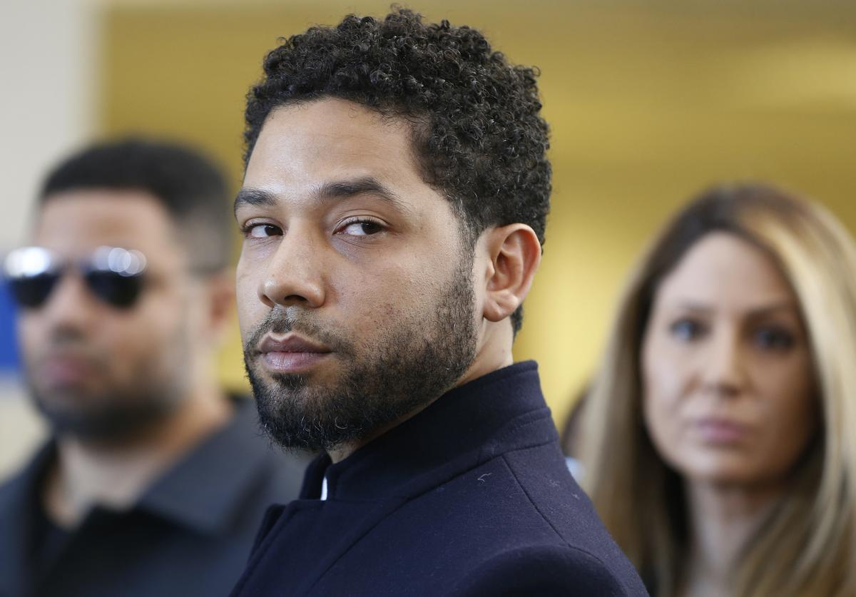 Actor Jussie Smollett after his court appearance at Leighton Courthouse on March 26, 2019 in Chicago, Illinois. This morning in court it was announced that all charges were dropped against the actor