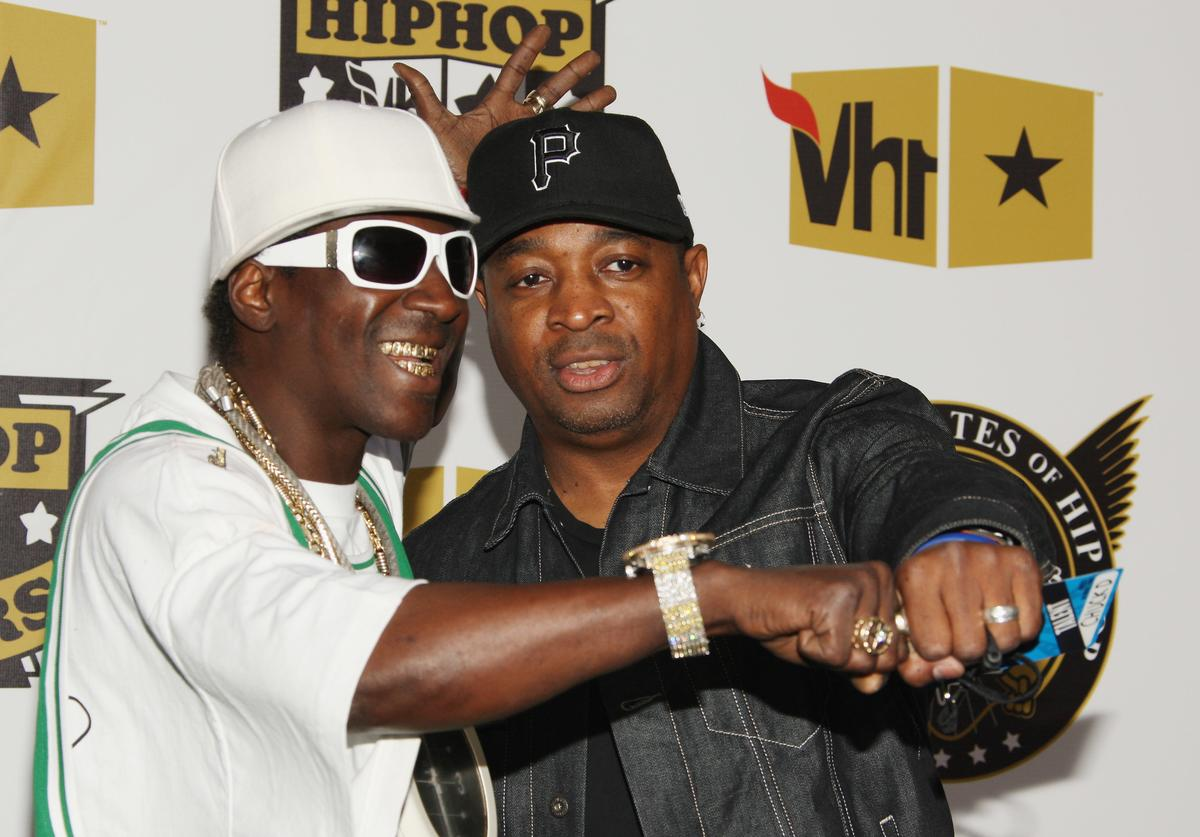 Flavor Flav and Chuck D attend the 2008 VH1 Hip Hop Honors at the Hammerstein Ballroom on October 2, 2008 in New York City