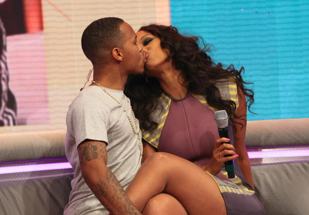 """106 & Park"" host Bow Wow kisses Tyra Banks during BET's ""106 & Park"" at BET Studios on July 31, 2013 in New York City"