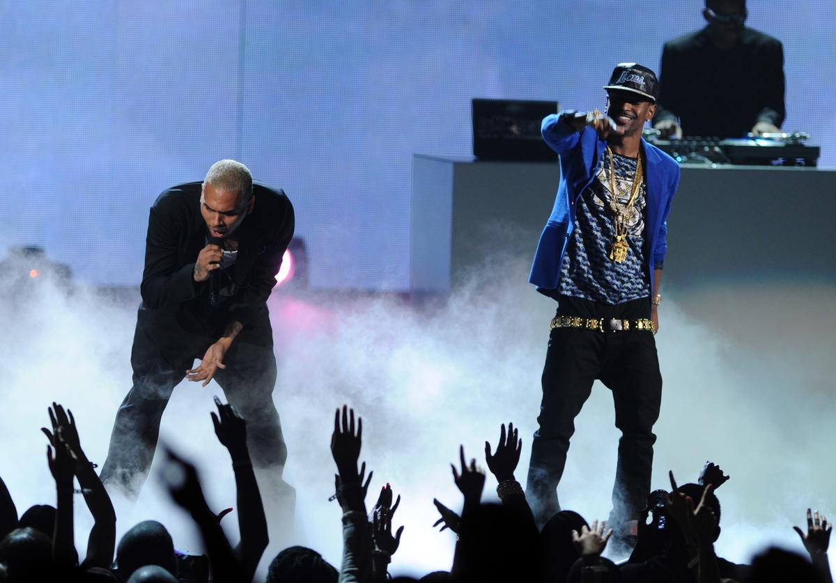 Chris Brown (L) and Big Sean perform onstage during the BET Awards '11 held at the Shrine Auditorium on June 26, 2011 in Los Angeles, California