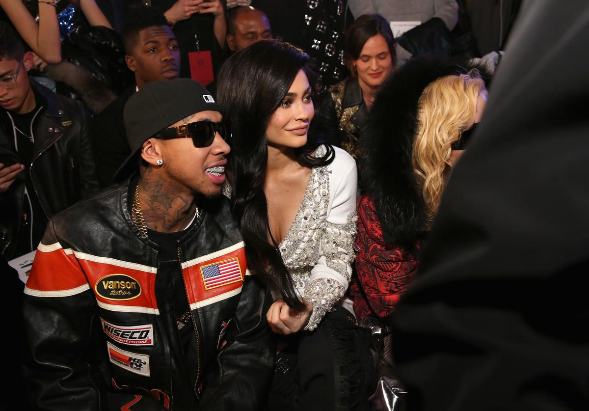 Tyga, Kylie Jenner and Madonna attend the Philipp Plein collection during, New York Fashion Week: The Shows at New York Public Library on February 13, 2017 in New York City