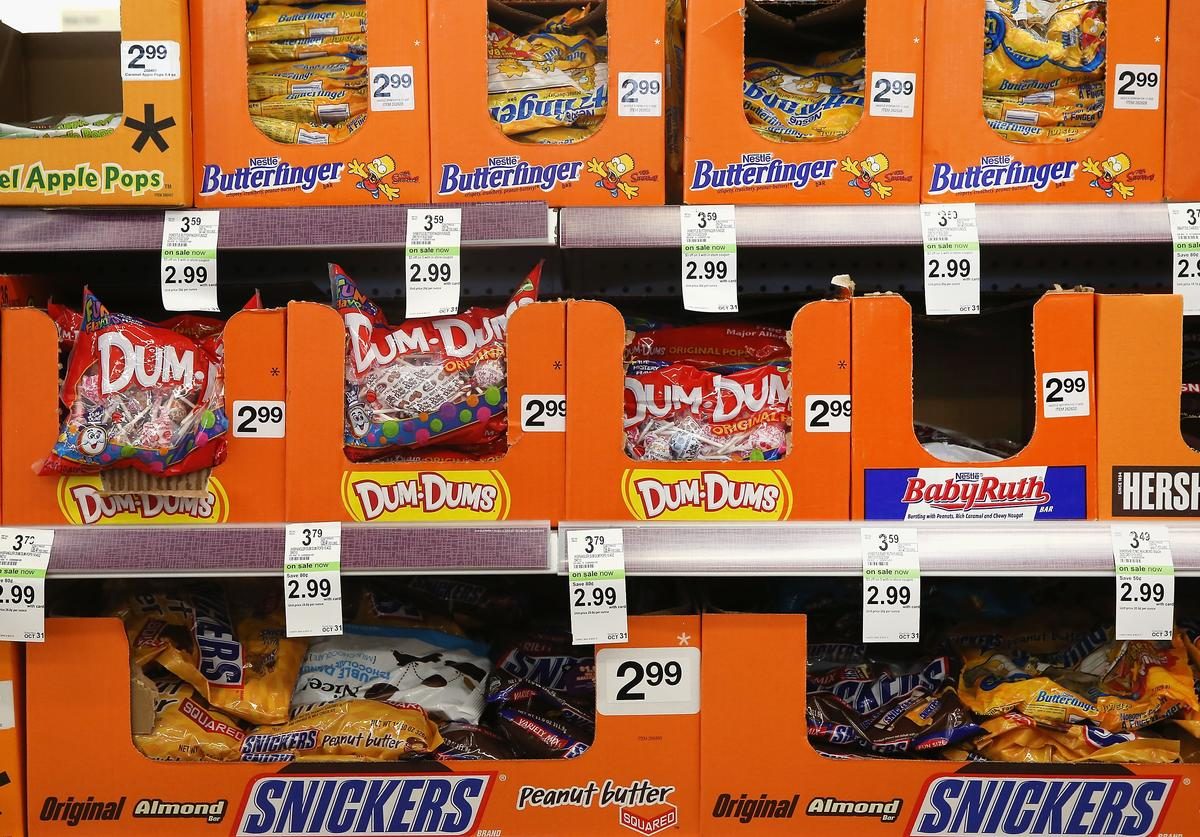 Halloween candy is offered for sale at a Walgreens store on September 19, 2013 in Wheeling, Illinois