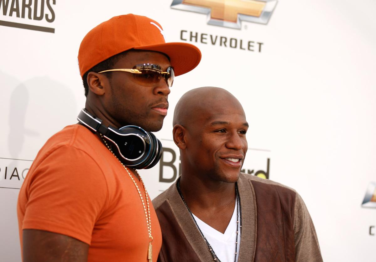 Rapper 50 Cent and boxer Floyd Mayweather, Jr. arrive at the 2011 Billboard Music Awards at the MGM Grand Garden Arena May 22, 2011 in Las Vegas, Nevada.
