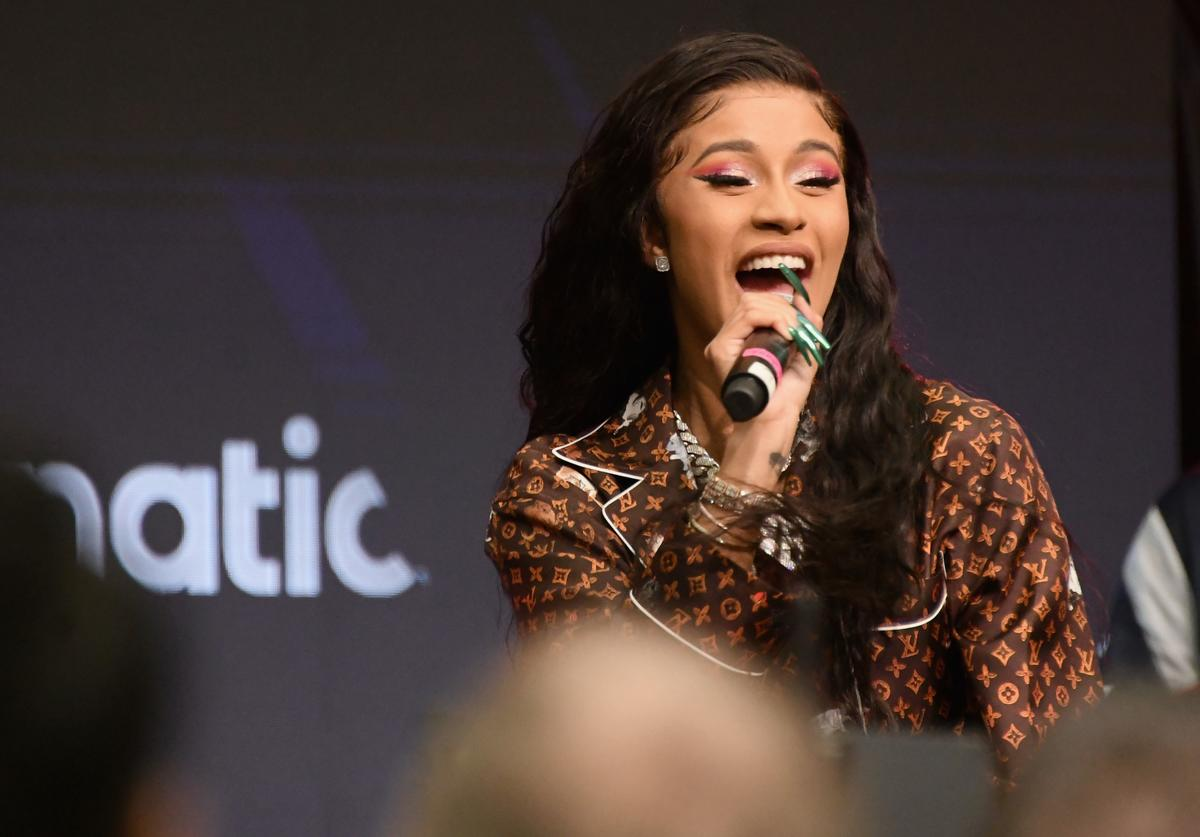 Cardi B performs onstage during Fanatics Super Bowl Party at College Football Hall of Fame on February 2, 2019 in Atlanta, Georgia